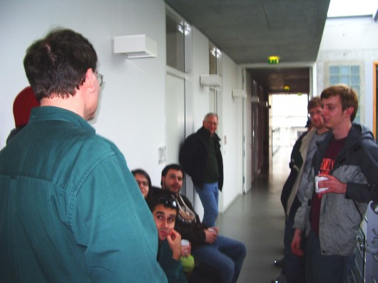 The Group Chatting with Prof. Johanningsmeier's about His Experiences as a Fulbrighter to Leipzig.